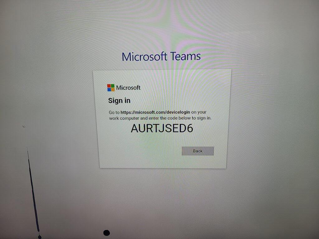 Microsoft login screen
